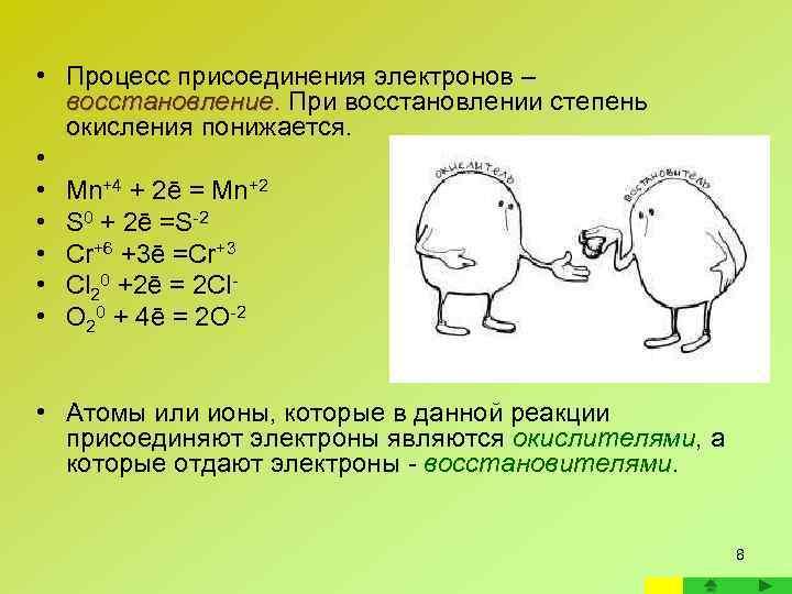 • Процесс присоединения электронов –  восстановление. При восстановлении степень  окисления понижается.