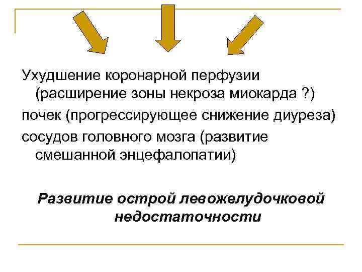 Ухудшение коронарной перфузии  (расширение зоны некроза миокарда ? ) почек (прогрессирующее снижение диуреза)