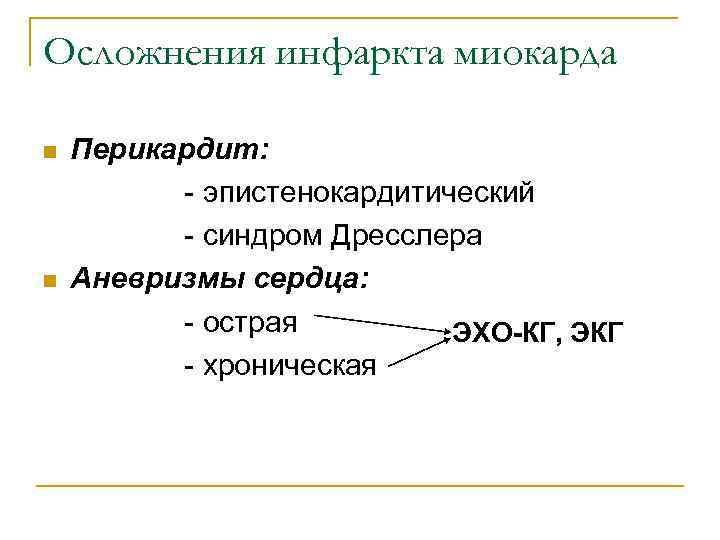 Осложнения инфаркта миокарда n  Перикардит:  - эпистенокардитический  - синдром Дресслера n