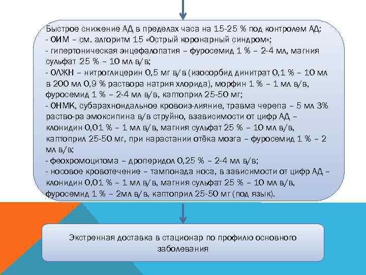 Быстрое снижение АД в пределах часа на 15 -25 % под контролем АД: -
