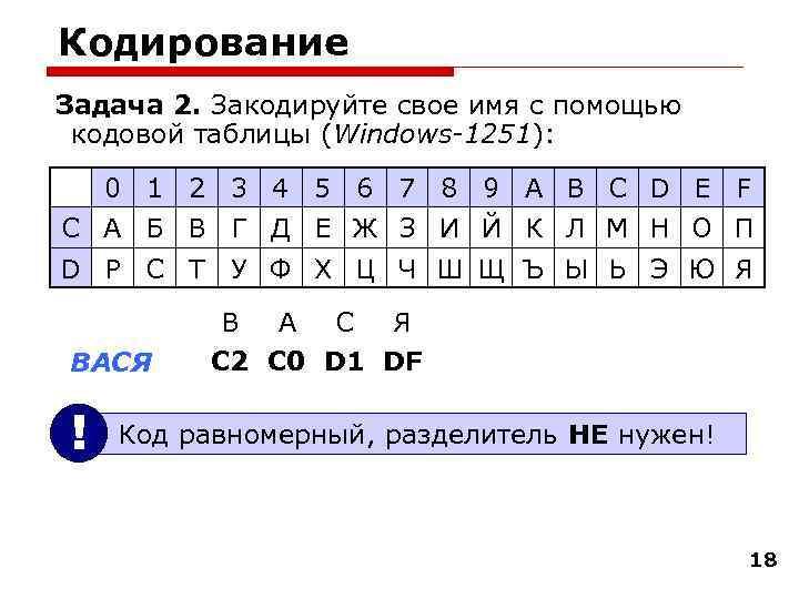 Кодирование Задача 2. Закодируйте свое имя с помощью кодовой таблицы (Windows-1251):  0 1