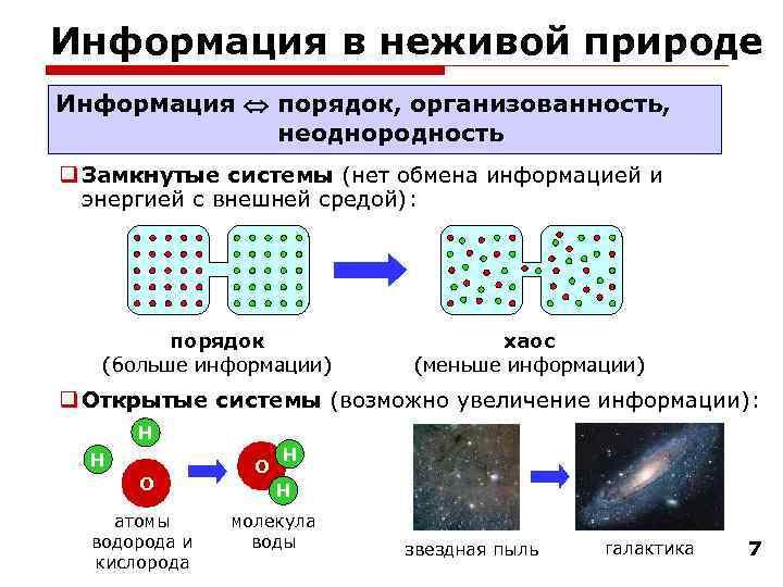 Информация в неживой природе Информация  порядок, организованность,    неоднородность q Замкнутые