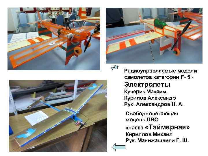 Радиоуправляемые модели самолетов категории F- 5 - Электролеты Кучерик Максим, Курилов Александр Рук. Александров