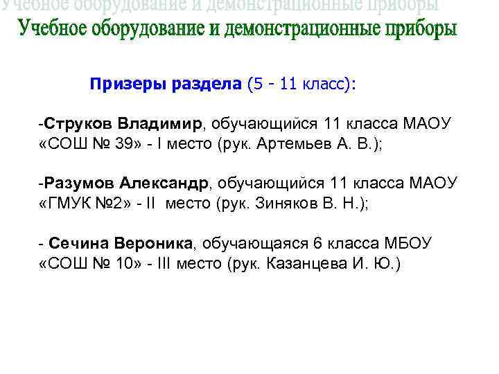 Призеры раздела (5 - 11 класс):  -Струков Владимир, обучающийся 11 класса МАОУ