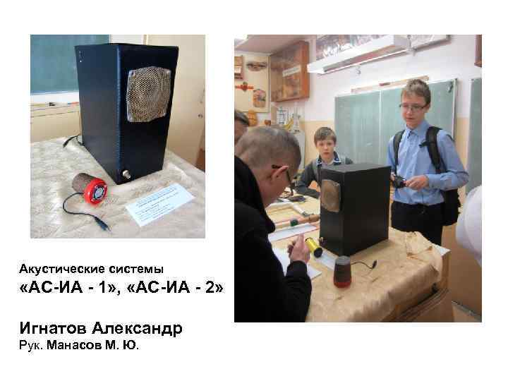 Акустические системы «АС-ИА - 1» ,  «АС-ИА - 2»  Игнатов Александр Рук.