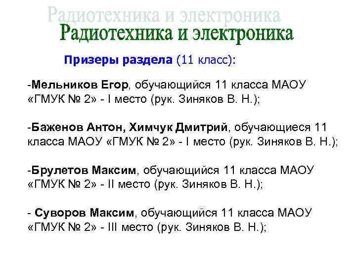 Призеры раздела (11 класс):  -Мельников Егор, обучающийся 11 класса МАОУ «ГМУК №