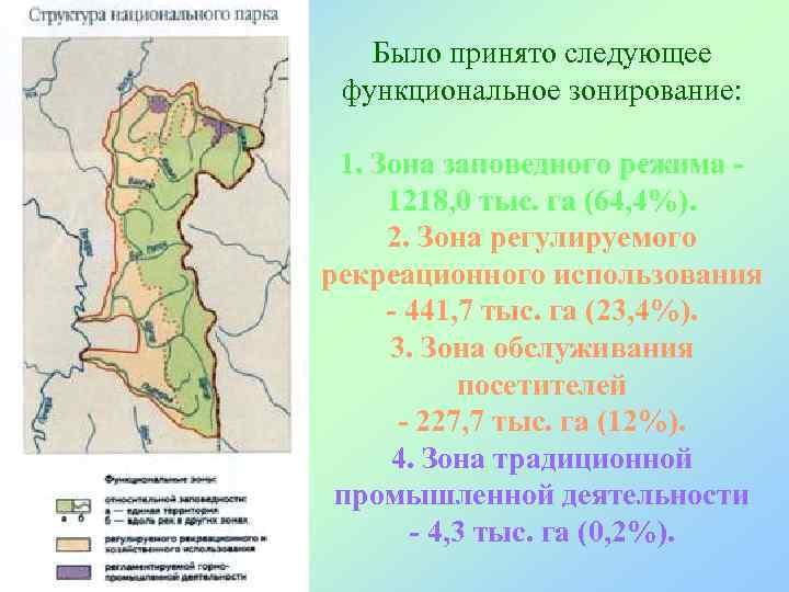 Было принято следующее функциональное зонирование:  1. Зона заповедного режима - 1218,