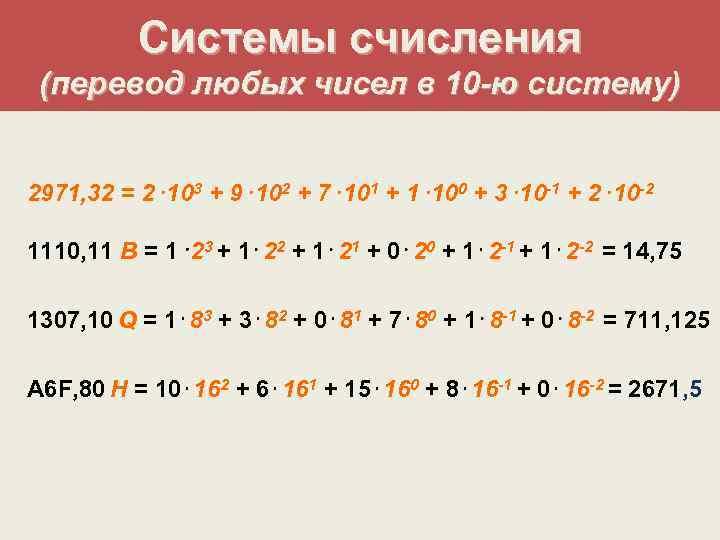 Системы счисления (перевод любых чисел в 10 -ю систему)  2971,