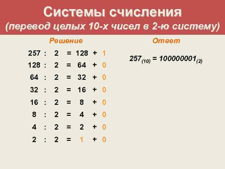 Системы счисления (перевод целых 10 -х чисел в 2 -ю систему)