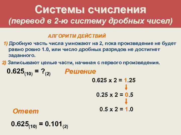Системы счисления  (перевод в 2 -ю систему дробных чисел)