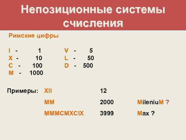 Непозиционные системы   счисления Римские цифры I - 1  V