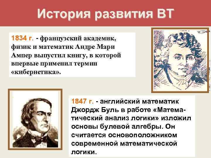 История развития ВТ 1834 г. - французский академик, физик и математик Андре