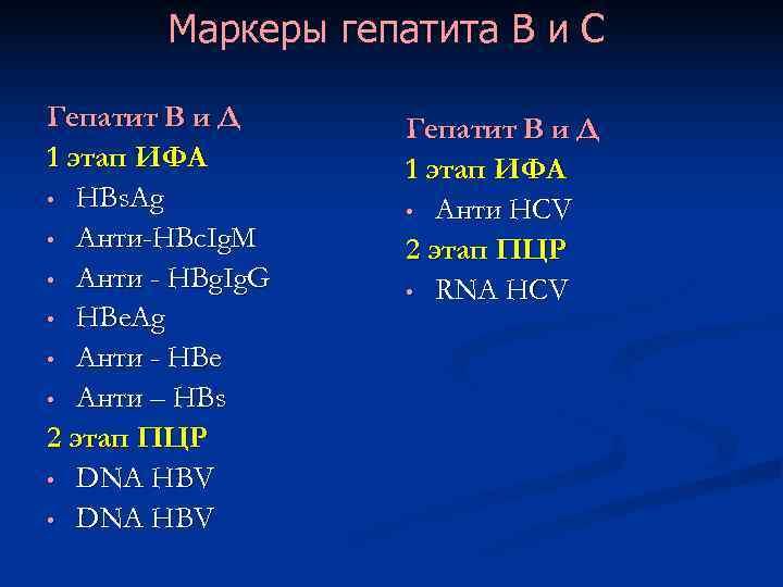 Маркеры гепатита В и С Гепатит В и Д 1 этап ИФА