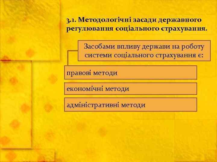 3. 1. Методологічні засади державного регулювання соціального страхування.  Засобами впливу держави на роботу