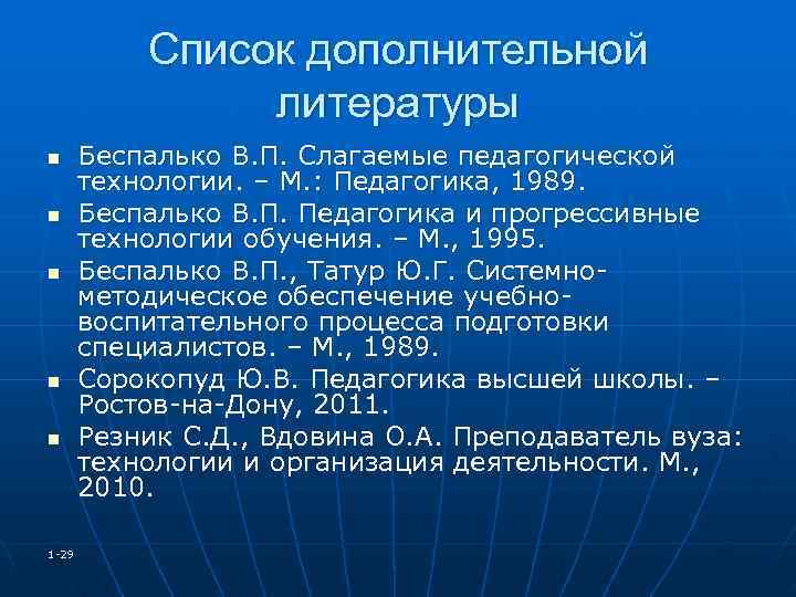 Список дополнительной   литературы n Беспалько В. П. Слагаемые педагогической