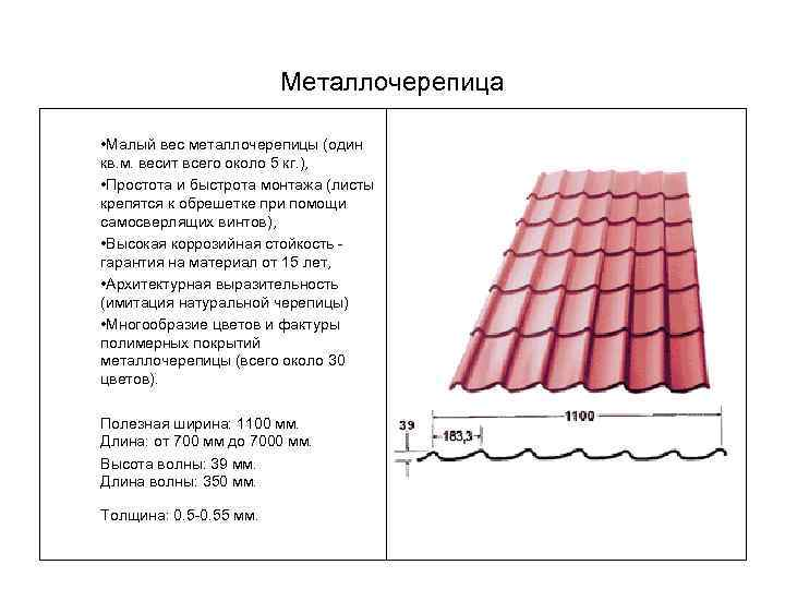 вес 1 м металлочерепицы