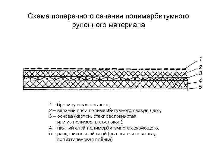Схема поперечного сечения полимербитумного  рулонного материала   1 – бронирующая посыпка,