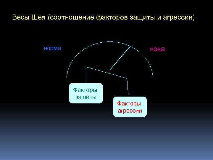 Весы Шея (соотношение факторов защиты и агрессии)  норма     язва