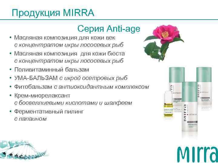 Продукция MIRRA     Серия Anti-age • Масляная композиция для кожи век
