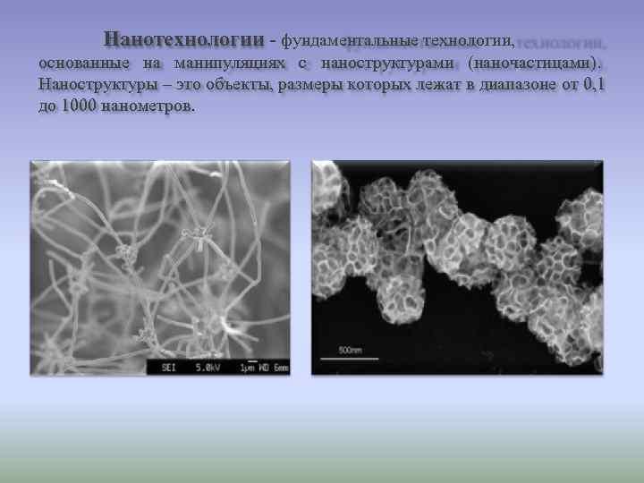 Нанотехнологии - фундаментальные технологии, основанные на манипуляциях с наноструктурами (наночастицами). Наноструктуры –