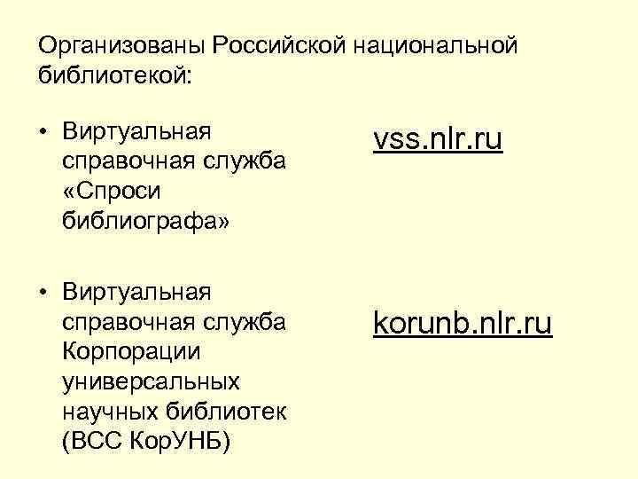 Организованы Российской национальной библиотекой:  • Виртуальная  vss. nlr. ru  справочная служба