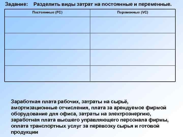 Задание:  Разделить виды затрат на постоянные и переменные.   Постоянные (FC)