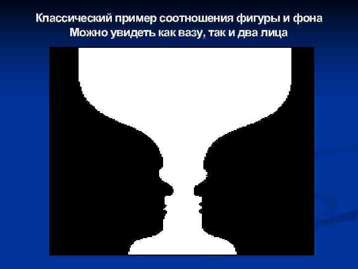 Классический пример соотношения фигуры и фона Можно увидеть как вазу, так и два лица