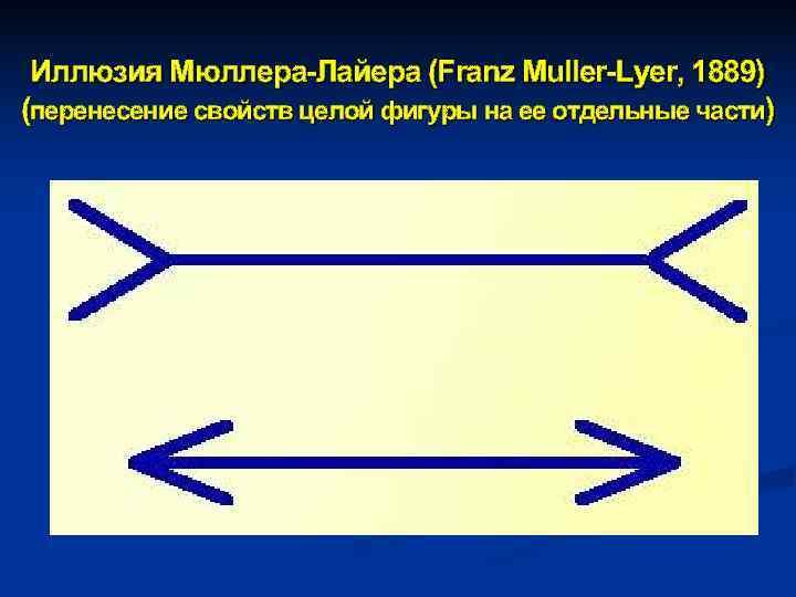Иллюзия Мюллера-Лайера (Franz Muller-Lyer, 1889) (перенесение свойств целой фигуры на ее отдельные части)