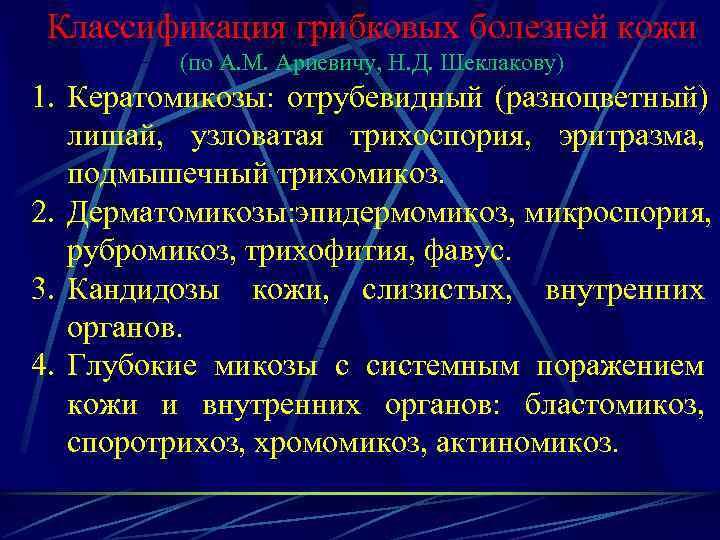 Классификация грибковых болезней кожи   (по А. М. Ариевичу, Н. Д. Шеклакову) 1.