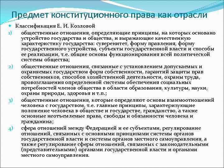 Предмет конституционного права как отрасли  Классификация Е. И. Козловой 1) общественные отношения,