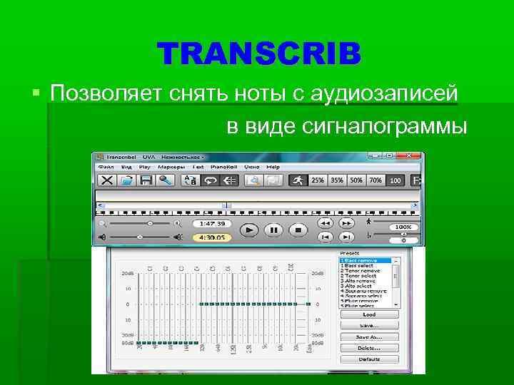 TRANSCRIB  Позволяет снять ноты с аудиозаписей   в виде