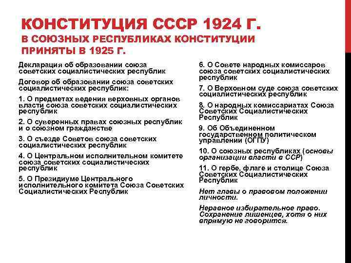 КОНСТИТУЦИЯ СССР 1924 Г. В СОЮЗНЫХ РЕСПУБЛИКАХ КОНСТИТУЦИИ ПРИНЯТЫ В 1925 Г. Декларация об