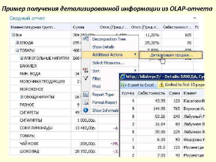 Пример получения детализированной информации из OLAP-отчета