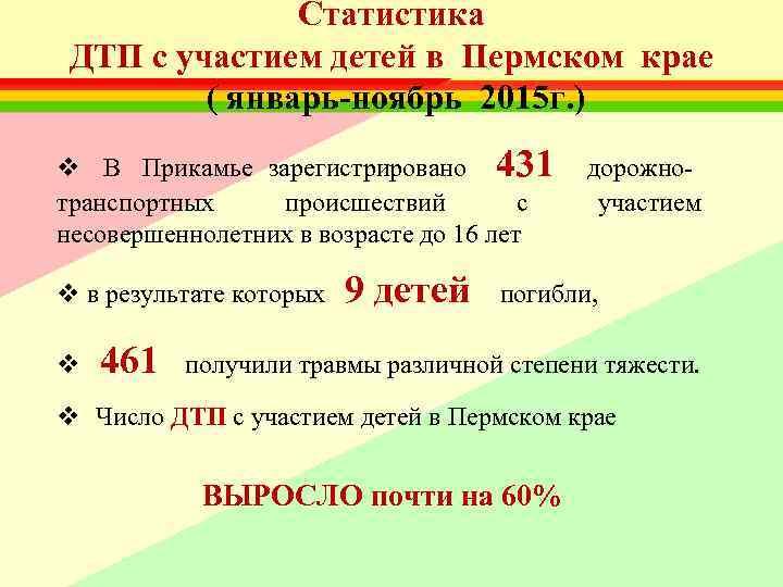 Статистика   ДТП с участием детей в Пермском