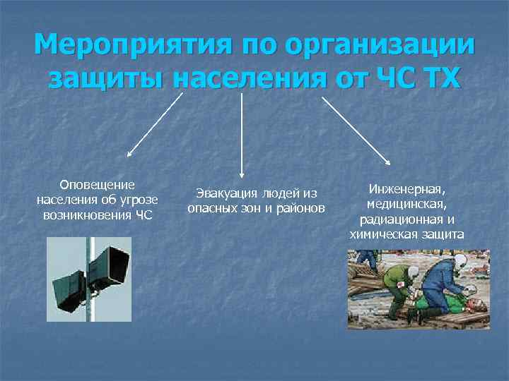 Мероприятия по организации защиты населения от ЧС ТХ  Оповещение