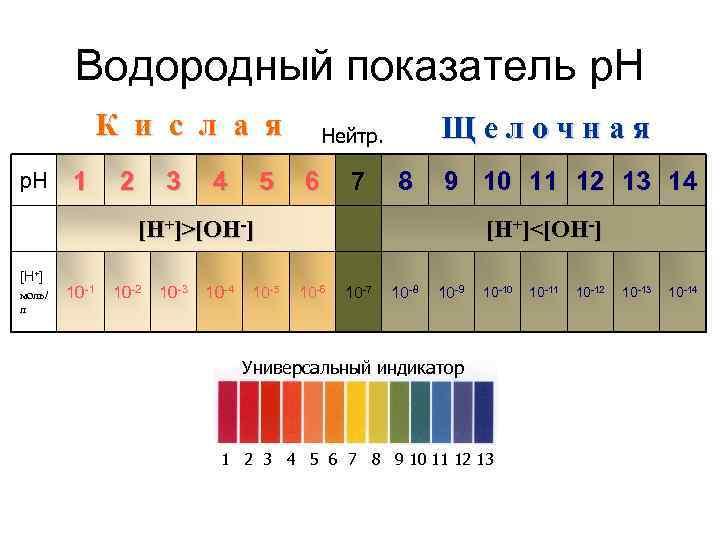Водородный показатель р. Н    К и с л