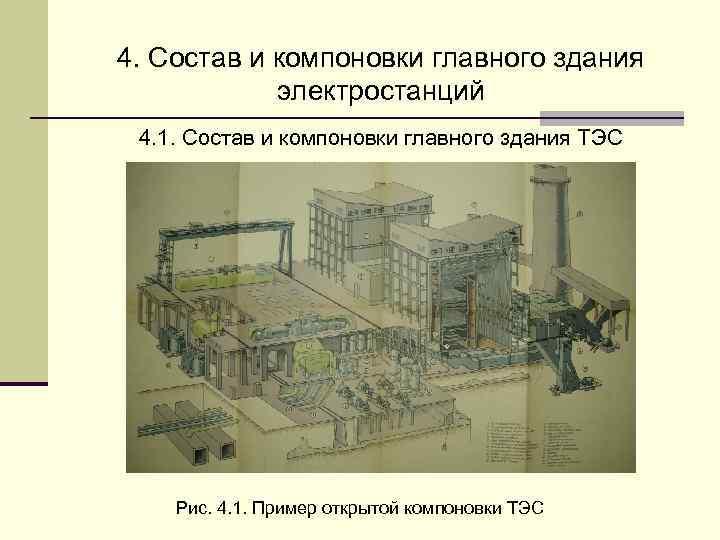 4. Состав и компоновки главного здания   электростанций 4. 1. Состав и компоновки