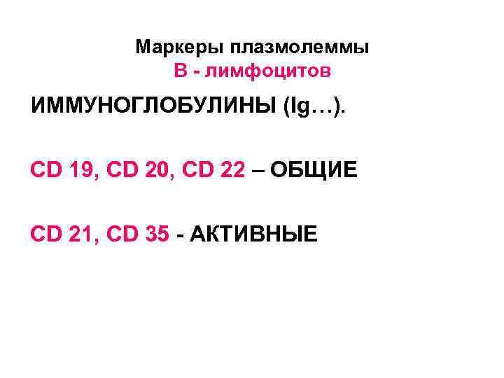 Маркеры плазмолеммы  В - лимфоцитов ИММУНОГЛОБУЛИНЫ (Ig…).  CD 19, CD