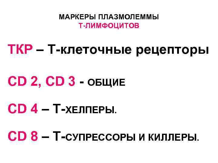 МАРКЕРЫ ПЛАЗМОЛЕММЫ  Т-ЛИМФОЦИТОВ  ТКР – Т-клеточные рецепторы CD 2, CD