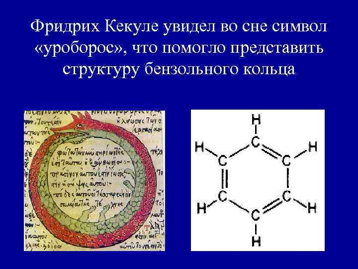 Фридрих Кекуле увидел во сне символ «уроборос» , что помогло представить  структуру бензольного
