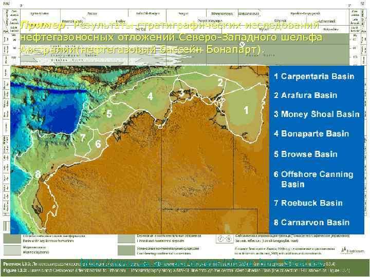 Пример. Результаты стратиграфических исследований нефтегазоносных отложений Северо-Западного шельфа Австралии(нефтегазовый бассейн Бонапарт).