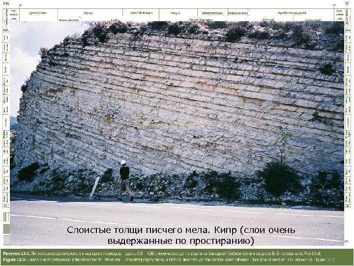 Слоистые толщи писчего мела. Кипр (слои очень   выдержанные по простиранию)
