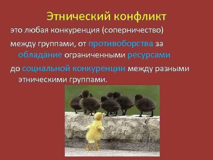 Этнический конфликт это любая конкуренция (соперничество) между группами, от противоборства за обладание