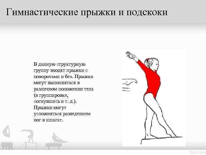 Гимнастические прыжки и подскоки   В данную структурную  группу входят прыжки с
