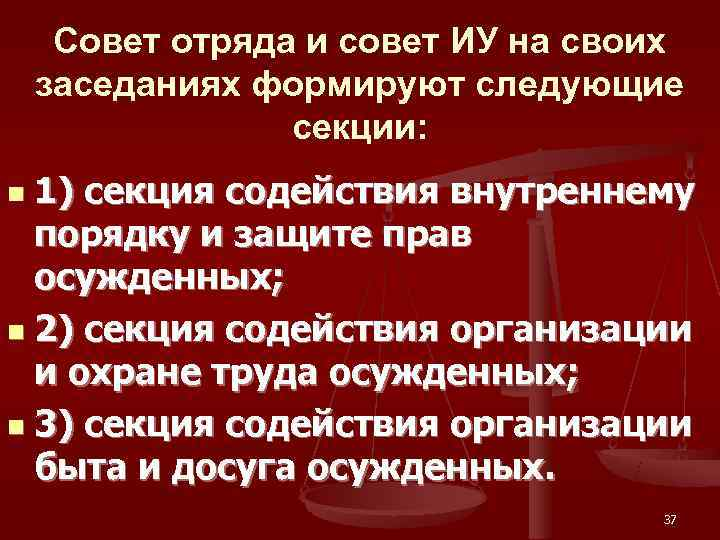 Совет отряда и совет ИУ на своих заседаниях формируют следующие   секции: