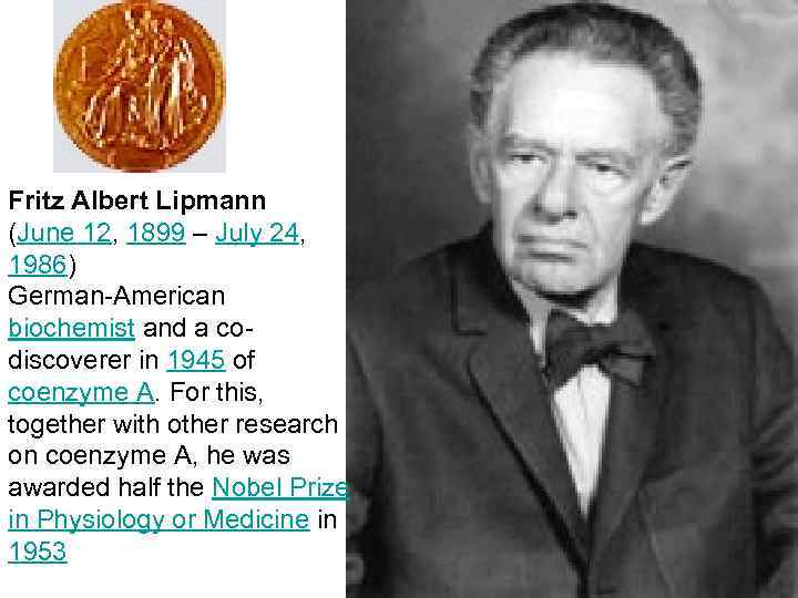 Fritz Albert Lipmann (June 12, 1899 – July 24, 1986) German-American biochemist and a