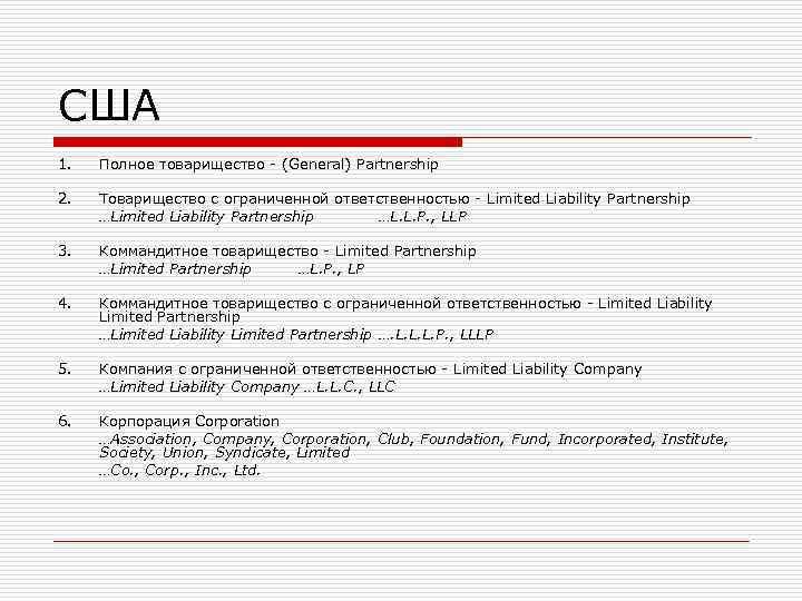 США 1.  Полное товарищество - (General) Partnership 2.  Товарищество с ограниченной ответственностью