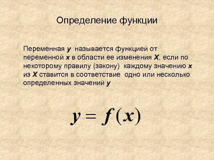 Определение функции Переменная y называется функцией от переменной х в области