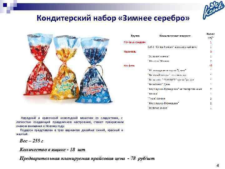 Кондитерский набор «Зимнее серебро»   Нарядный и красочный новогодний мешочек со