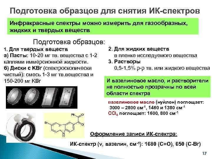 Подготовка образцов для снятия ИК-спектров  Инфракрасные спектры можно измерить для газообразных,